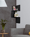 2 Tier Floating Wall Shelves Corner Shelf Storage Display Bookcase 2 Tier