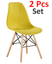 Plastic Designer Style Dining Chairs Eiffel Retro Lounge Office Chair 2 IN ONE PACKAGE COLOUR YELLOW