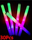 30pcs DJ Flashing Glow Stick LED Wands Rally Rave Batons Light Up Foam Sticks