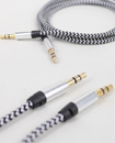 1M Black & White Weave 3.5mm Aux Audio Cable
