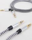 1M Black & White Weave 3.5mm Aux Audio Cable