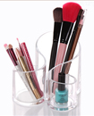 Acrylic Clear 3 Cylindrical Holder Brush Makeup Cosmetic Organizer Stand Box