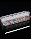 3000 Pcs NAIL ART RHINESTONE 2MM ROUND DIAMANTE GEMS - 12 COLOURS + PICKER TOOL