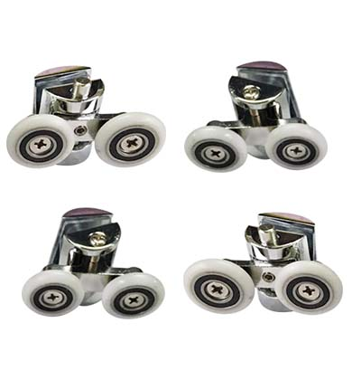 4 X Shower Door Wheels Heavy Duty Zinc Alloy Twin Top Bottom Rollers Runners