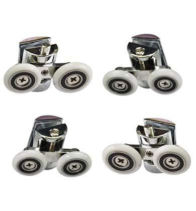 4 X Shower Door Wheels Heavy Duty Zinc Alloy Twin Top Bottom Rollers Runners