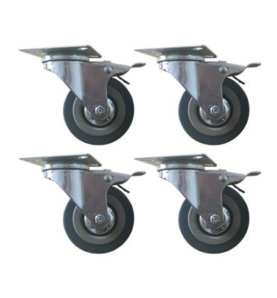 Set of Heavy Duty 75mm Rubber Swivel Castor Wheels Trolley Caster Brak