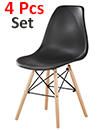 Plastic Designer Style Dining Chairs Eiffel Retro Lounge Office Chair 4 IN ONE PACKAGE COLOUR BLACK