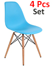 Plastic Designer Style Dining Chairs Eiffel Retro Lounge Office Chair 4 IN ONE PACKAGE COLOUR BLUE