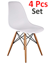 Plastic Designer Style Dining Chairs Eiffel Retro Lounge Office Chair 4 IN ONE PACKAGE COLOUR WHITE