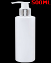 500ml White Cylindrical PET Plastic Bottle & Silver/White Lotion Pump