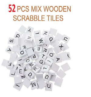 52 WOODEN SCRABBLE TILES BLACK LETTERS NUMBERS