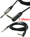 5m Right Angle MONO Jack 6.35mm 1/4 Inch Guitar/Amp Cable Lead