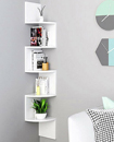 5 Tier Floating Wall Shelves Corner Shelf Storage Display Bookcase 5 Tier