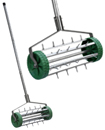 Heavy Duty Rolling Grass Lawn Garden Aerator Roller Green Wheel