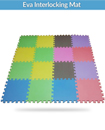 18 Piece Eva Interlocking Soft Foam Kids Baby Activity Play Mat Set For Tiles Floor
