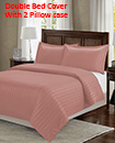 Satin Stripe Duvet Cover with Pillow Cases Non Iron Quilt Cover Double Bedding Bedroom Set