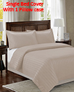 Satin Stripe Duvet Cover with Pillow Cases Non Iron Quilt Cover Single Bedding Bedroom Set