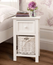 2 WHITE BEDSIDE TABLES WITH WICKER STORAGE BASKET,