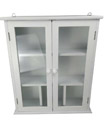 White Wall Mounted Bathroom Cabinet with 2x Glass