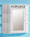 Scroll White Hand Crafted Bathroom Mirror MDF Cabi