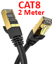 CAT8 Ethernet Network Cable 40Gbps LAN Patch Cord SSPT Gigabit Lot 2M black color