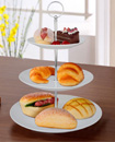 3 Layer Tier Ceramic White Round Serving Display C