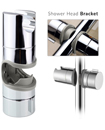 Universal Adjustable 18 to 25mm Chrome Shower Rail Head Slider Holder Bracket
