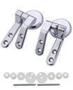 Chrome/Silver Universal Replacement Toilet Seat Hinges with Fittings Set