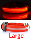 USB Rechargable LED Dog Pet Collar Flashing Luminous Safety Light Up Nylon Large Red color