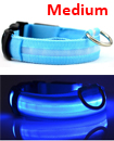 USB Rechargable LED Dog Pet Collar Flashing Luminous Safety Light Up Nylon Mediume Blue color
