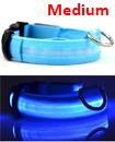 USB Rechargable LED Dog Pet Collar Flashing Luminous Safety Light Up Nylon Mediume Blue color