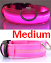 USB Rechargable LED Dog Pet Collar Flashing Luminous Safety Light Up Nylon Mediume pink color