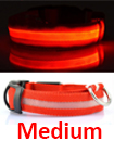 USB Rechargable LED Dog Pet Collar Flashing Luminous Safety Light Up Nylon Mediume Red color