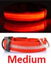 USB Rechargable LED Dog Pet Collar Flashing Luminous Safety Light Up Nylon Mediume Red color