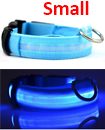 USB Rechargable LED Dog Pet Collar Flashing Luminous Safety Light Up Nylon Small Blue color