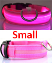 USB Rechargable LED Dog Pet Collar Flashing Luminous Safety Light Up Nylon Small pink  color