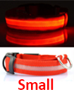 USB Rechargable LED Dog Pet Collar Flashing Luminous Safety Light Up Nylon Small Red color