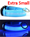 USB Rechargable LED Dog Pet Collar Flashing Luminous Safety Light Up Nylon Extra small Blue color