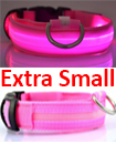 USB Rechargable LED Dog Pet Collar Flashing Luminous Safety Light Up Nylon Extra  Small pink color