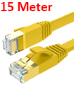 Flat CAT7 Ethernet Network Cable LAN Patch Cord SSPT Gigabit Lot 15M yellow color