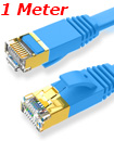 Flat CAT7 Ethernet Network Cable LAN Patch Cord SSPT Gigabit Lot 1M blue color