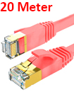 Flat CAT7 Ethernet Network Cable LAN Patch Cord SSPT Gigabit Lot 20M  red color