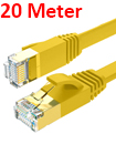 Flat CAT7 Ethernet Network Cable LAN Patch Cord SSPT Gigabit Lot 20M yellow color