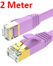 Flat CAT7 Ethernet Network Cable LAN Patch Cord SSPT Gigabit Lot 2M  purple color