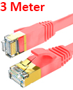 Flat CAT7 Ethernet Network Cable LAN Patch Cord SSPT Gigabit Lot 3M  red color