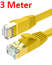 Flat CAT7 Ethernet Network Cable LAN Patch Cord SSPT Gigabit Lot 3M yellow color