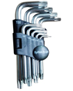 9 Pieces Standard Torx End (with hole) Hex Key