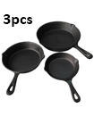 3 Piece Pre Seasoned Cast Iron Non- Stick Skillet Set Grill Round Fry Pan Black