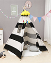Kids childrens play tent childs garden or indoor toy 5' Canvas Black stripes