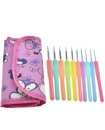 10 Pcs Multi-Coloured Soft Grip Handle Aluminum Crochet Hooks Knitting Needles with Carry Bag